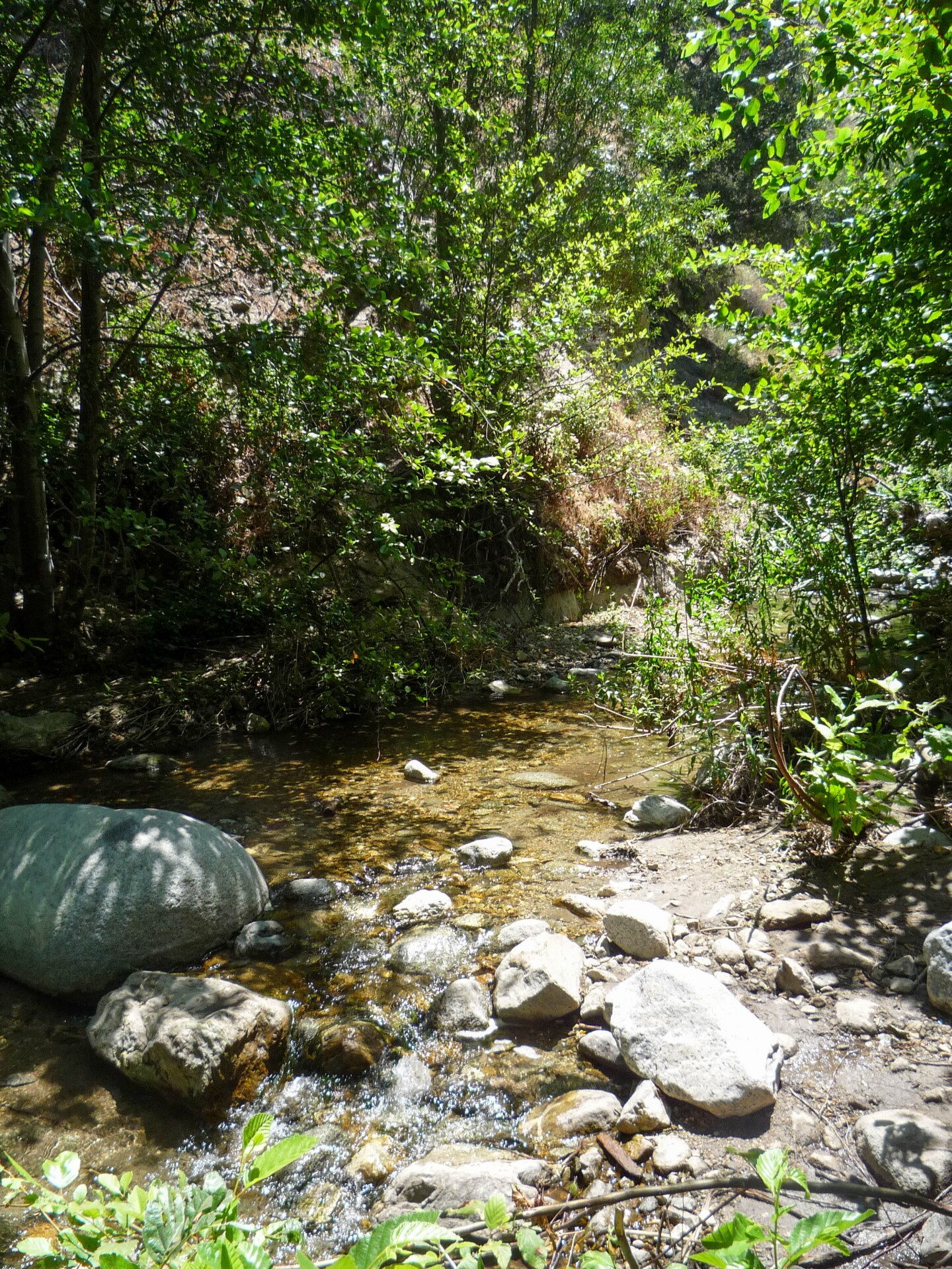 Boulders are dotted across the Eaton Canyon Stream where hikers must traverse through to reach the falls.