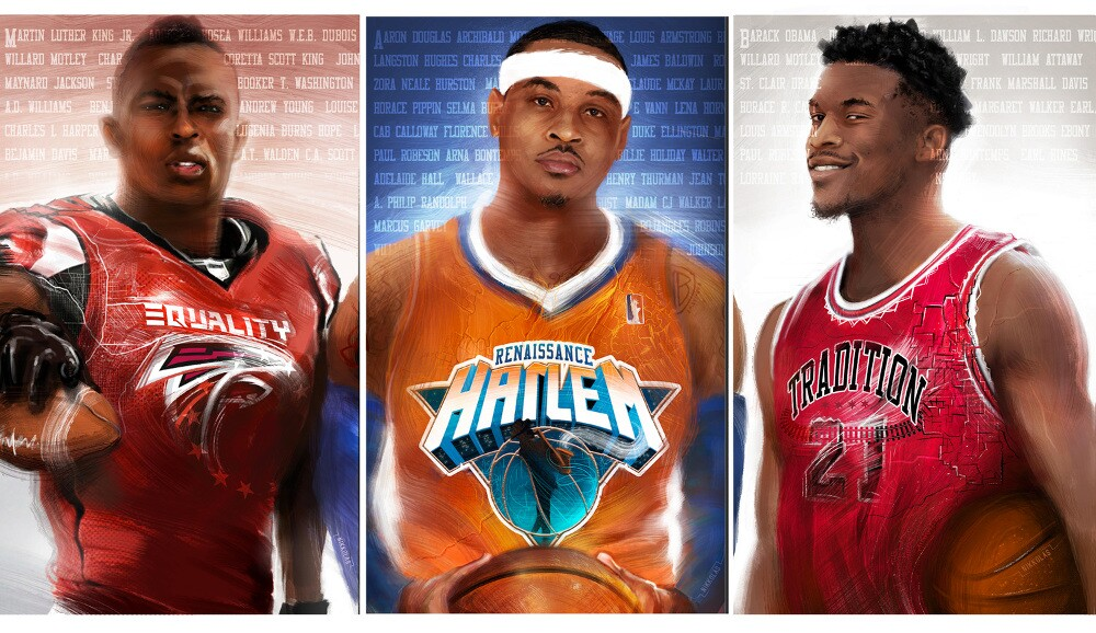 This triptych by Nikkolas Smith showcases athletes Julio Jones, Carmelo Anthony and Jimmy Butler.