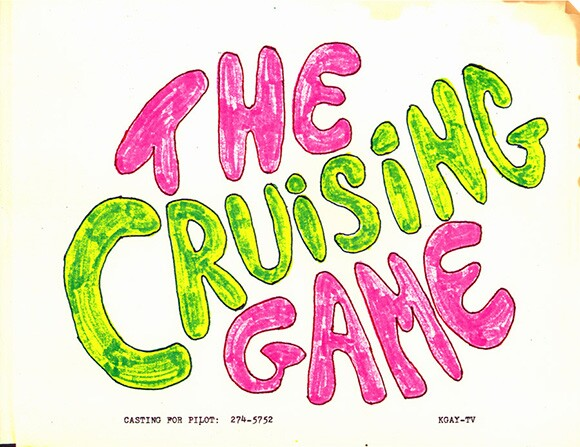 "Artwork for John Dorr's unrealized project ""The Cruising Game,"" c. 1980. EZTV Video Collection. ONE Archives at the USC Libraries"