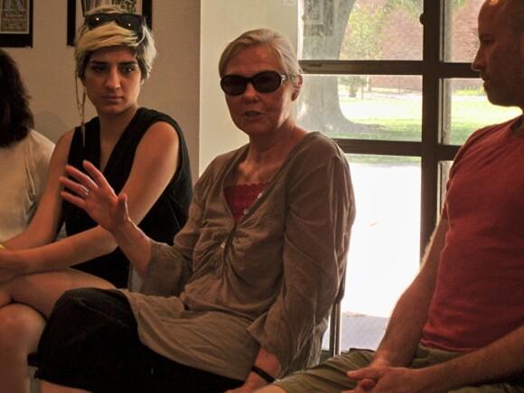 "Artist Faith Wilding at ""Feminism Today"" | Photograph by, and courtesy of, Penka Skachkova."