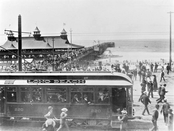 A Pacific Electric car in Long Beach. Courtesy of the Metro Transportation Library and Archive.