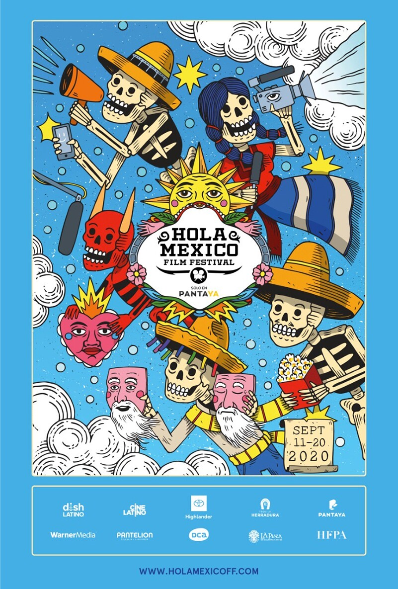 The Hola Mexico film festival poster for 2020 by Mauricio Groenewold González features skeletons holding film gear | Courtesy of Hola Mexico
