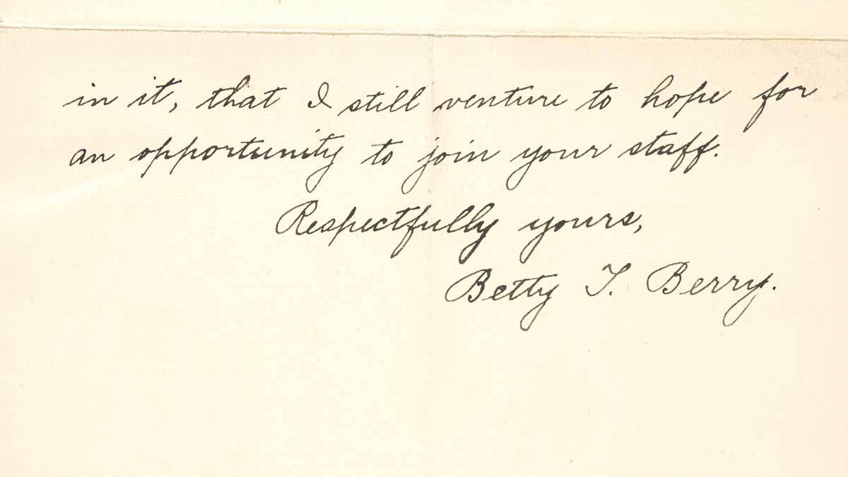 Letter from Betty Trier Berry to F.H. Seares of Mt. Wilson observatory p4 | Image courtesy of the Observatories of the Carnegie Institution for Science Collection at the Huntington Library, San Marino, California