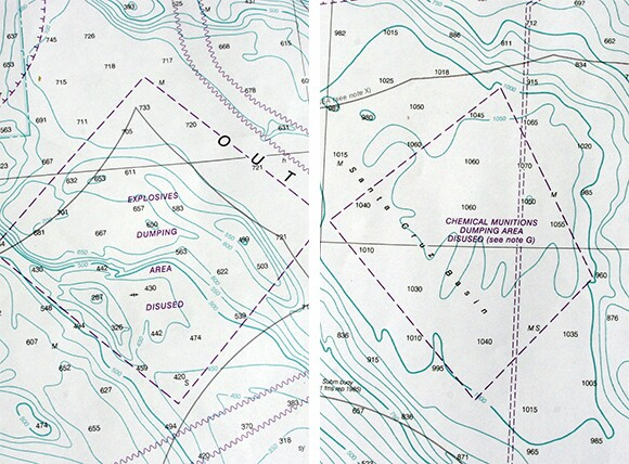 Details from the NOAA chart of San Diego to Santa Rosa Island, 2012. (Soundings in fathoms.)