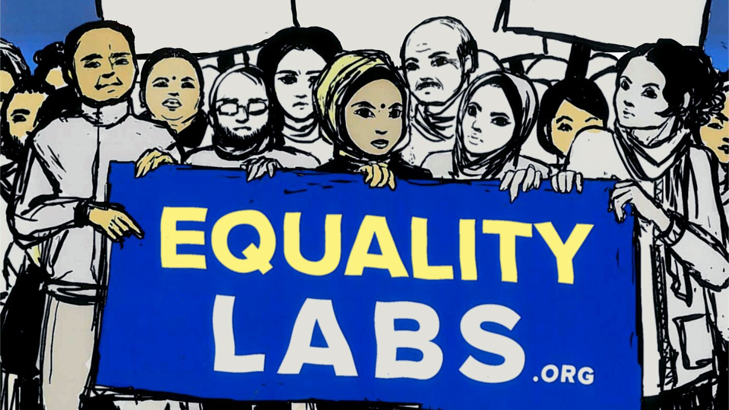 "Illustration featuring people holding a sign that reads ""EQUALITY LABS"""