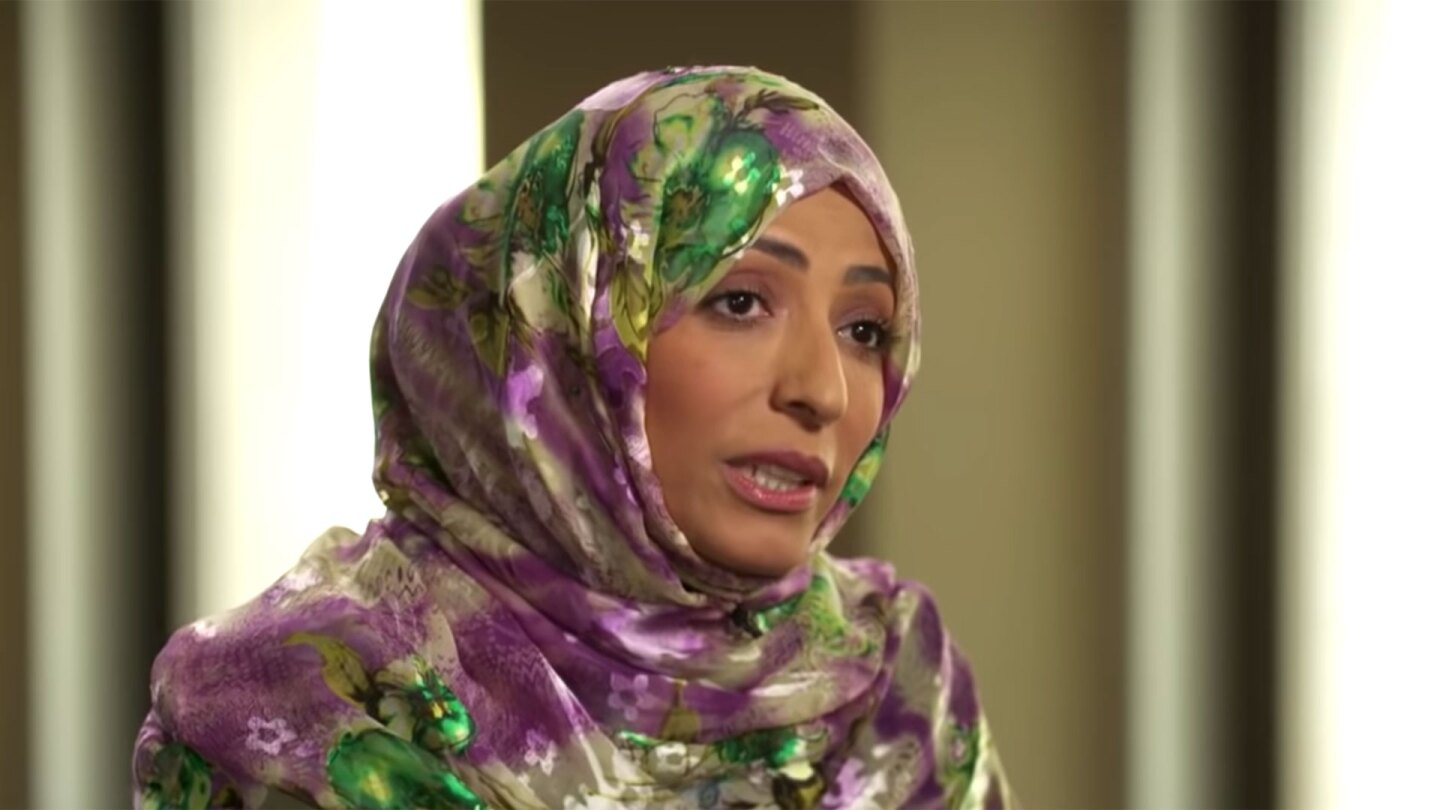 "Nobel Peace Prize laureate and Yemeni human rights activist Tawakkol Karman. | Still from ""Upfront"""