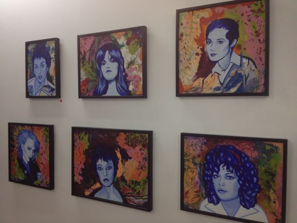"Castration Squad portraits by Alice Bag inside Coagula Curatorial for ""Heads Will Roll."" 