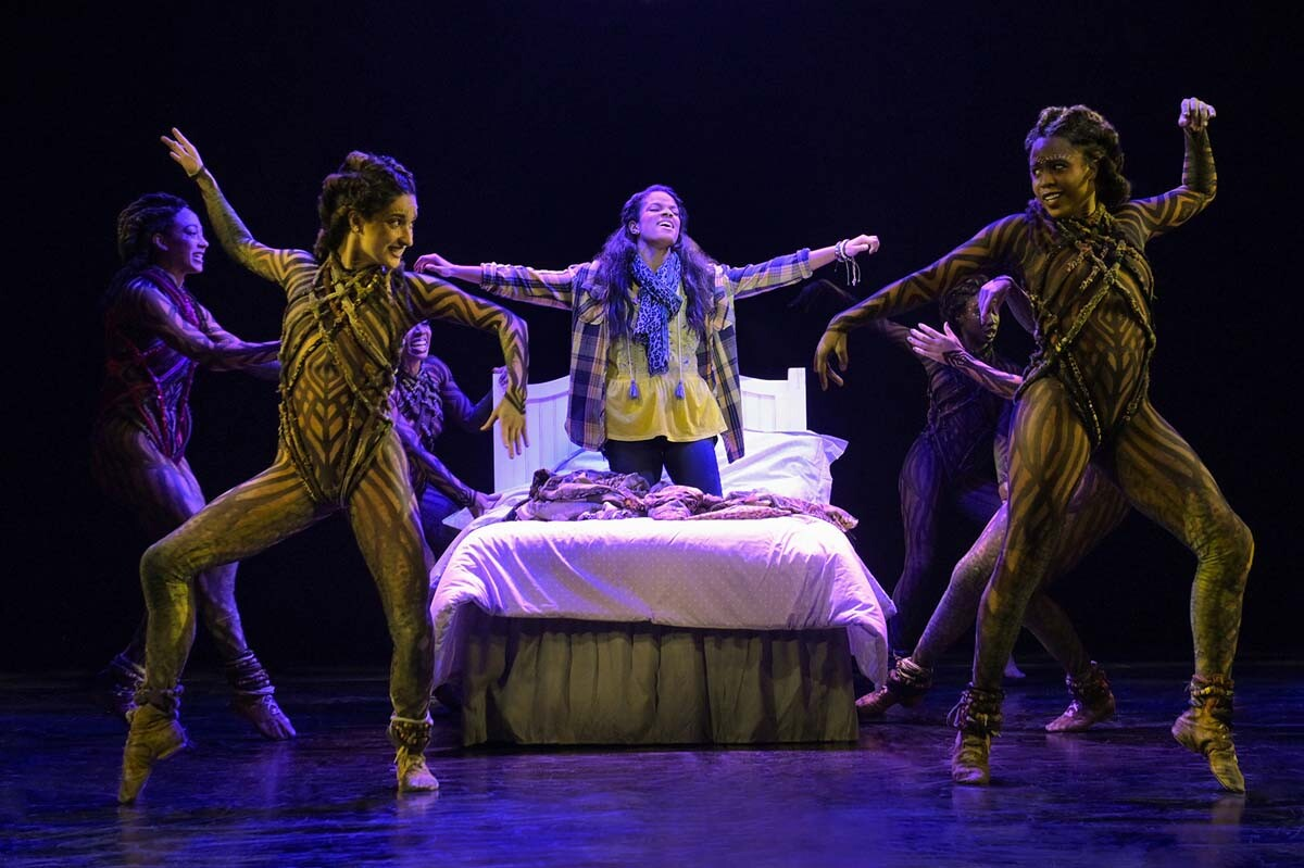 "Storm Lever (center) and the cast of La Jolla Playhouse's production of ""Fly."" Book by Rajiv Joseph, music by Bill Sherman, lyrics by Kirsten Childs and Rajiv Joseph, directed by Jeffrey Seller. 