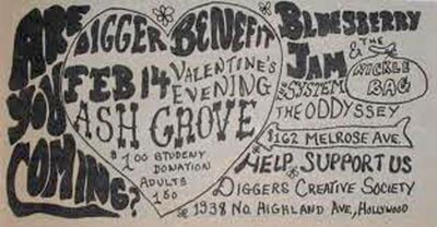 Flyers for L.A. Diggers Valentine's Day benefit, circa 1967 | Courtesy California Historical Society