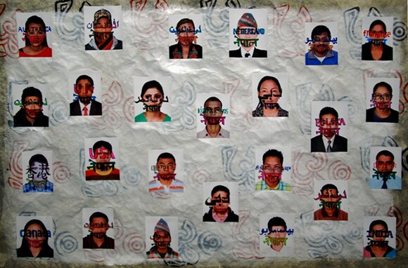 """""""75 Districts of Contemporary Nepal"""" from the series 1,300 Contemporary Nepalese Portraits by Hit Man Gurung, 2013, mixed media.   Courtesy of the artist."""