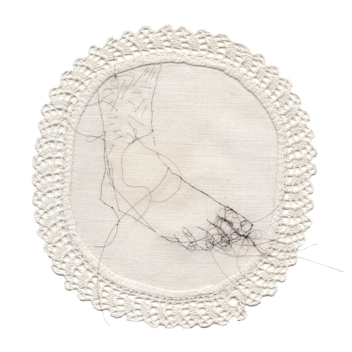 """Untitled,"" 2014 Hair embroidery on fabric 8 x 8 in. Part of ""Sula Bermúdez-Silverman: Neither Fish, Flesh, nor Fowl"" at CAAM. 