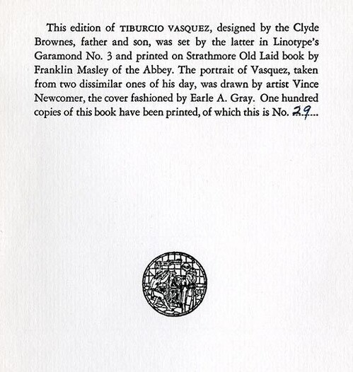 Browne's imprint for 'Tiburcio Vasquez' | Courtesy of the California Historical Society