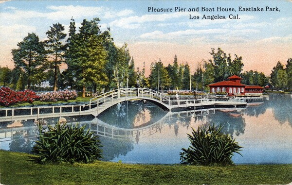 Circa 1915 postcard of Eastlake Park, since renamed Lincoln Park. Courtesy of the Werner Von Boltenstern Postcard Collection, Department of Archives and Special Collections, Loyola Marymount University Library.