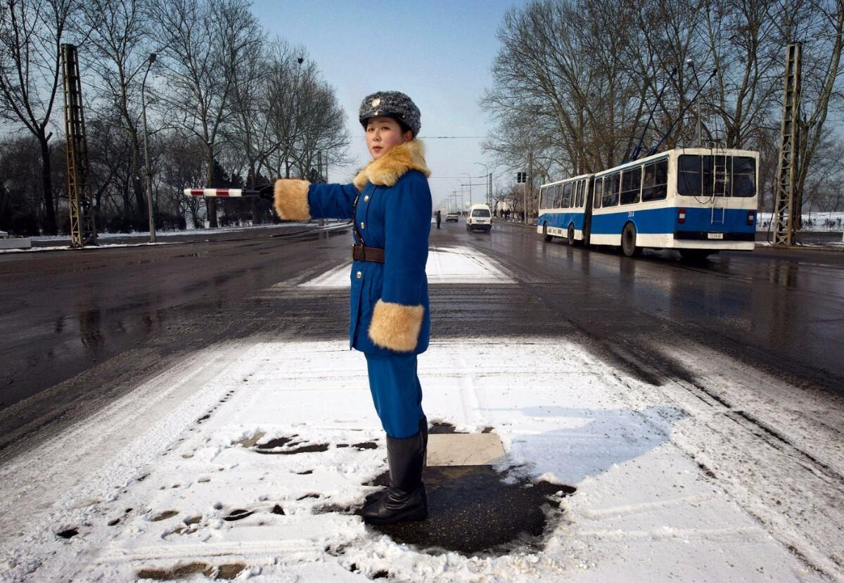 A traffic officer in uniform. Pyongyang, North Korea   Mark Edward Harris / Getty Images