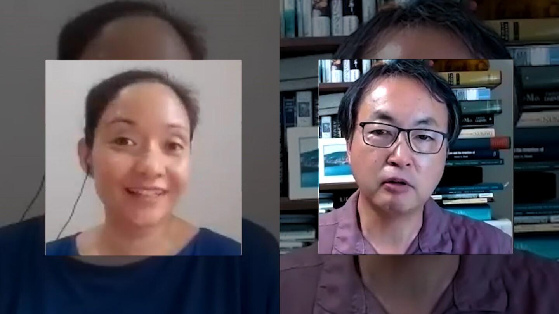 Inez Ponce de Leon and Masataka Watanabe on a video call.