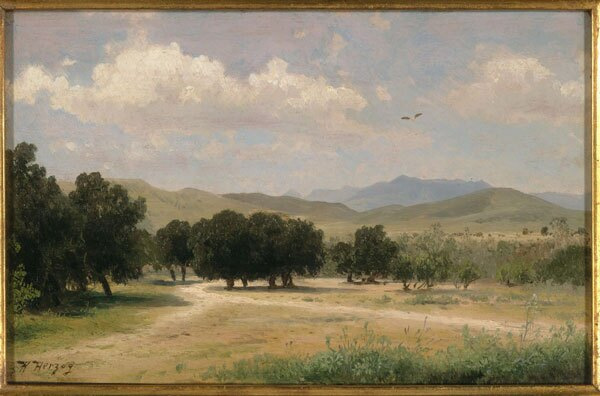 Circa 1870 landscape painting by Hermann Herzog of oak trees in a valley near Los Angeles. Courtesy of the Robert B. Honeyman, Jr. Collection of Early Californian and Western American Pictorial Material, Bancroft Library, UC Berkeley.