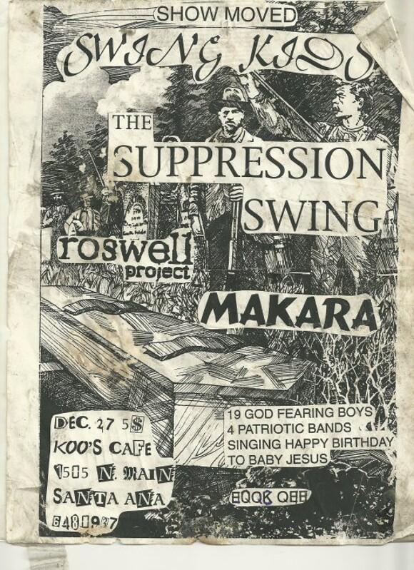 Swing Kids flyer, Koo's Cafe. | Courtesy of <a href='http://fukschool.wordpress.com/2010/10/18/notes-from-the-underground-2/'>Fukschool</a>.