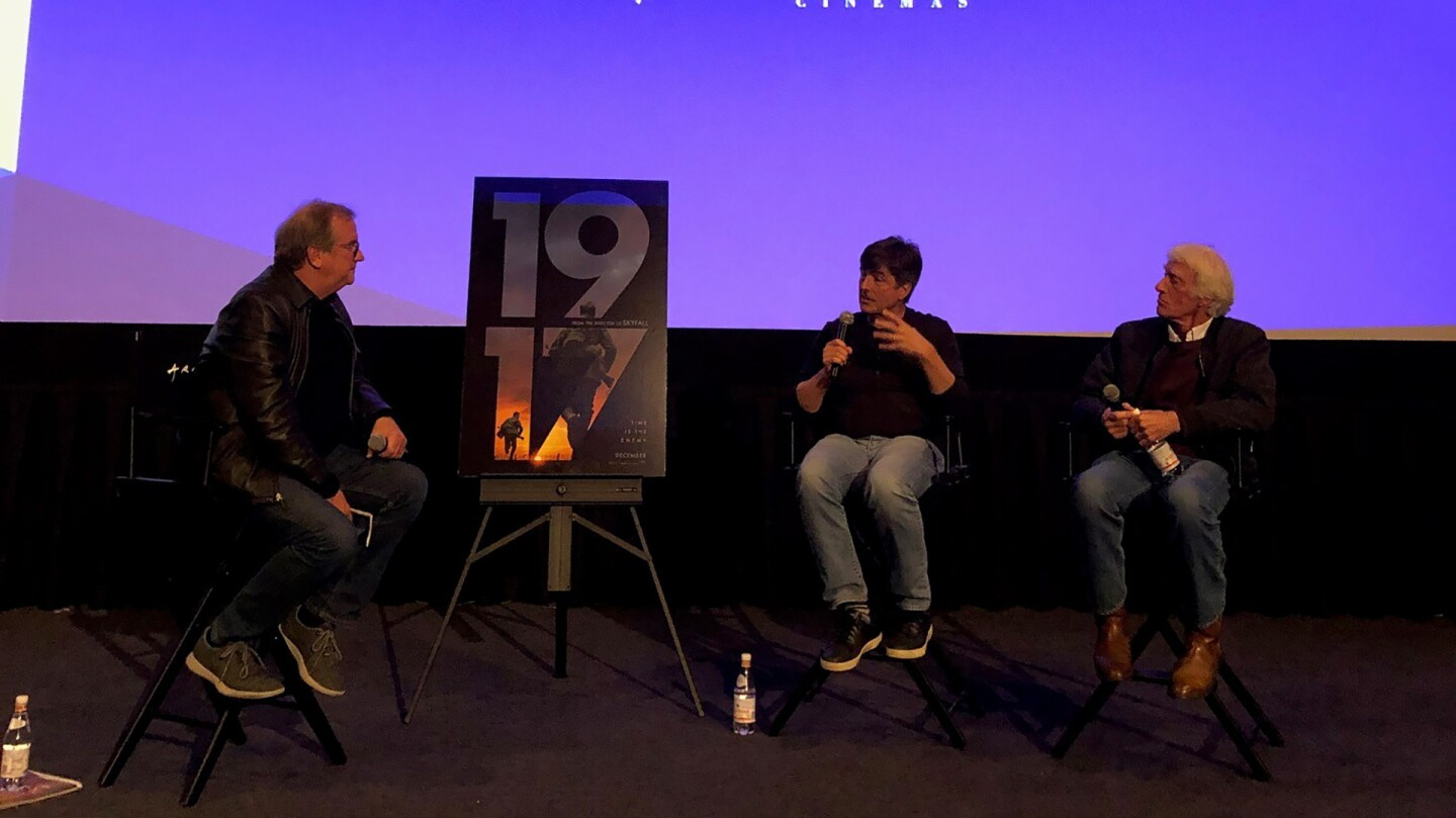 Pete Hammond with Roger Deakins and Thomas Newman for the post screening Q&A.