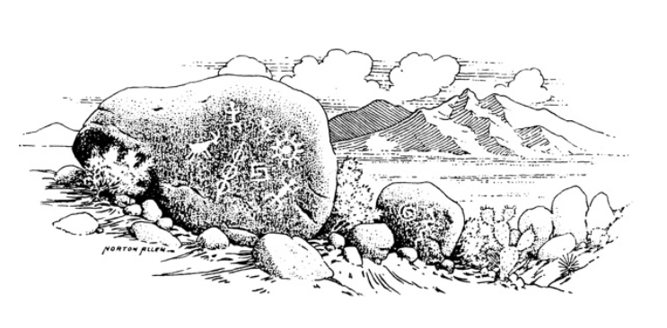 Norton's drawing of petroglyphs. | Courtesy of Ethel Allen