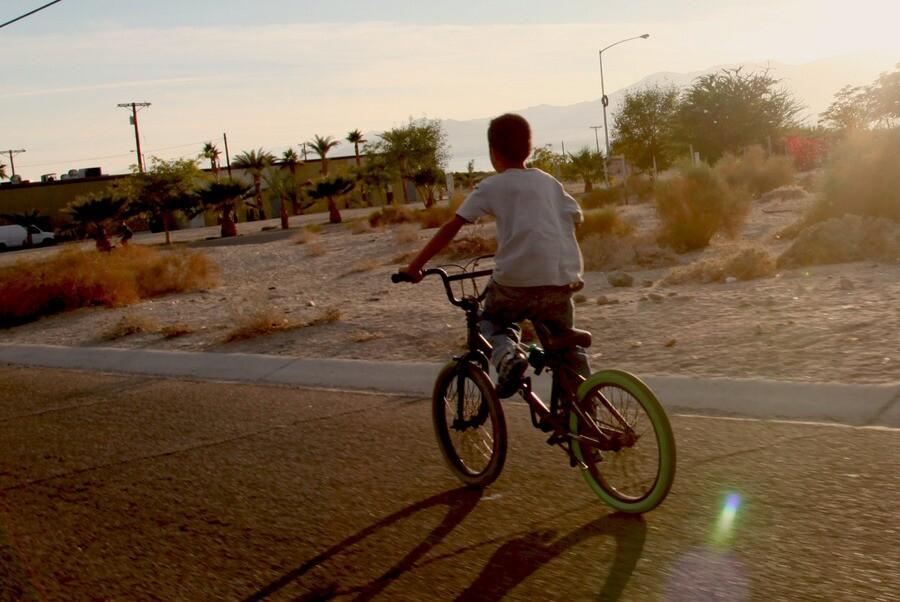 A bicyclist riding to the next art site    Photo: Drew Tewksbury