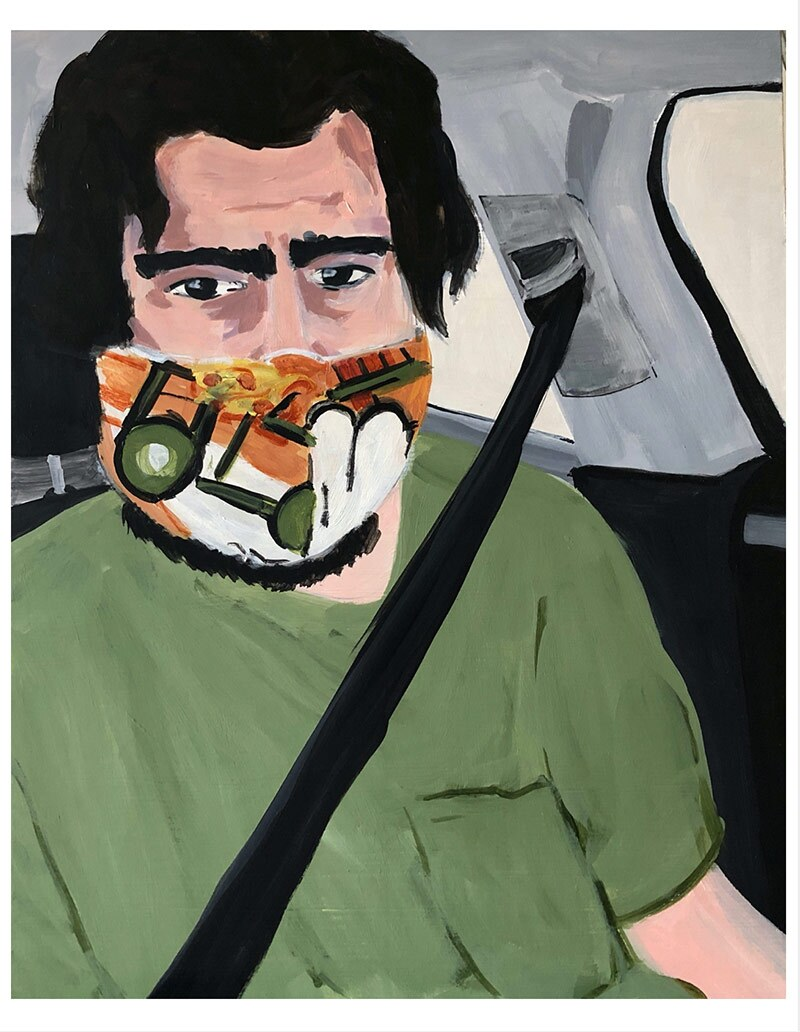 """A piece from Jake Sheiner's """"Scenes from my Quarantine,"""" a series of 19 paintings completed from March 15 through May 1, 2020. The series is still on going as stay at home orders continue. All paintings are acrylic on 11x14 inch wood panels. Courtesy of"""