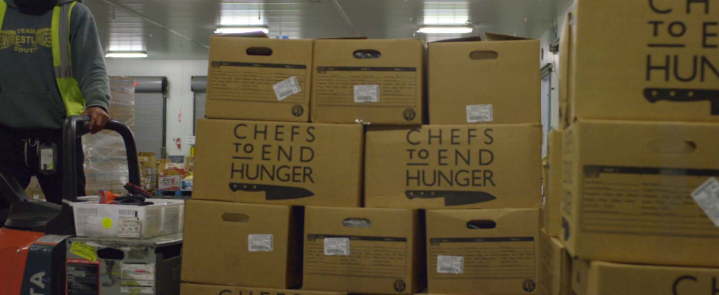 """Boxes of recovered food donated by restaurants and hotels to Chefs to End Hunger. 