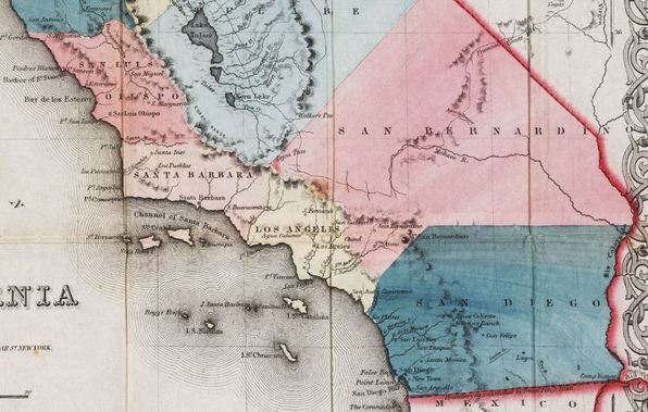 Southern California counties in 1853. Courtesy UCLA Young Research Library