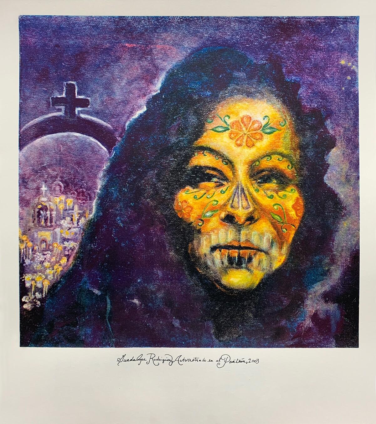 """Guadalupe Rodriguez, Autorretrato en el Panteón, 2003"" by Sandy Rodriguez is the commemorative print for Self Help Graphics' Dia de los Muertos in 2020 | Courtesy of Self Help Graphics & Art"