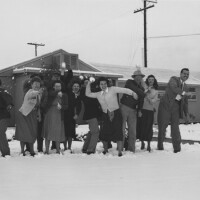 Southern Californians enjoying a rare snowfall in Pacoima. Courtesy Southern California Library