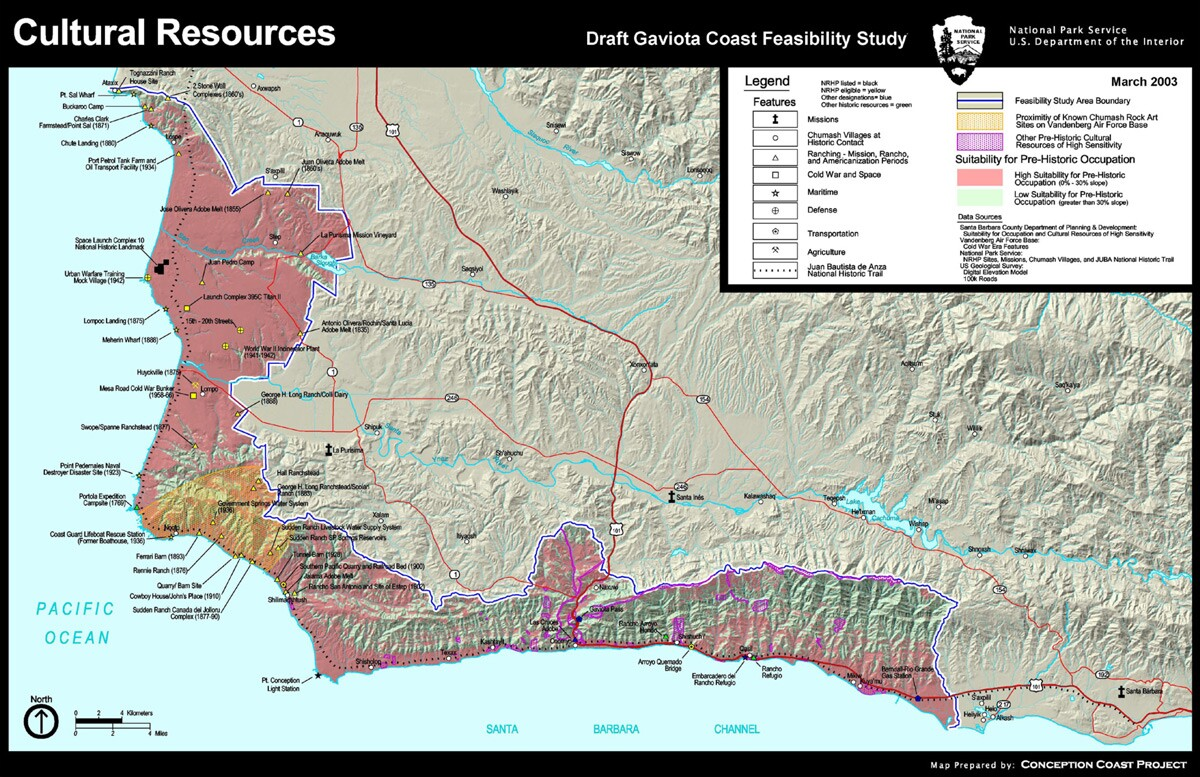 Map of cultural resources in the region. | Extracted from from the National Park Service's Gaviota Coast Feasibility Study, produced by the Pacific Great Basin Support Office of the National Park Service.