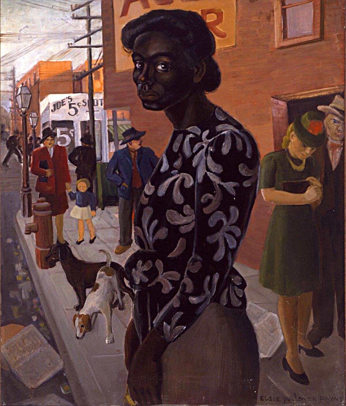 "Elsie Palmer Payne, ""Bus Stop,"" 1943, oil on canvas"