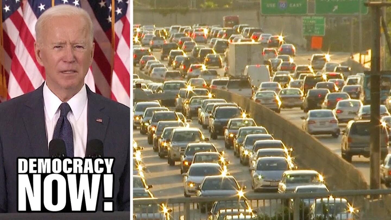 Photos of Joe Biden and heavy traffic.