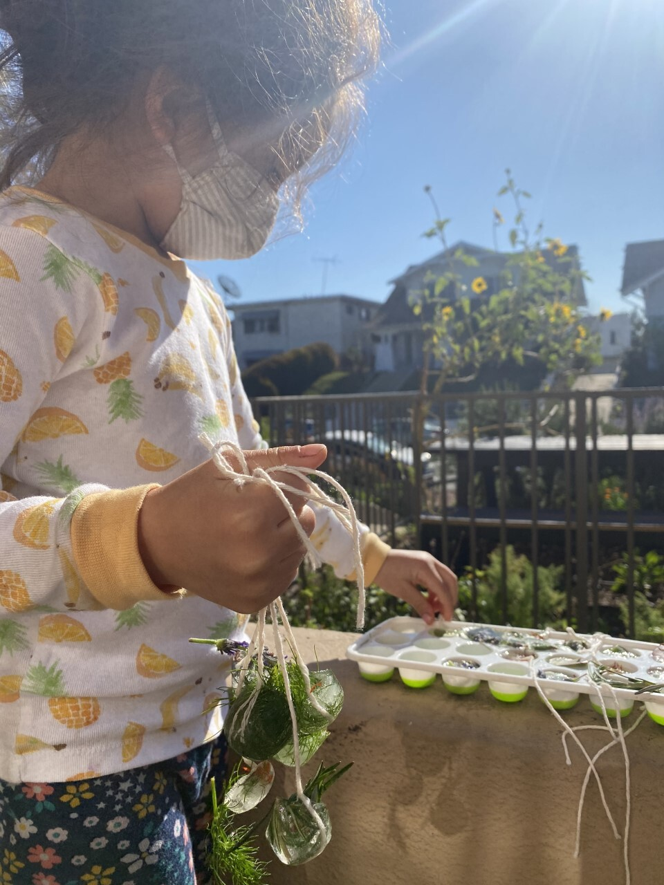 A toddler pulls out frozen green plants on a strong from an ice tray.