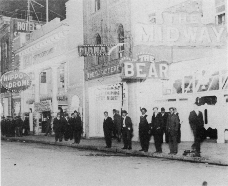 San Francisco's Barbary Coast , lower Pacific Street, filmed c. 1913. San Francisco History Room, San Francisco Public Library