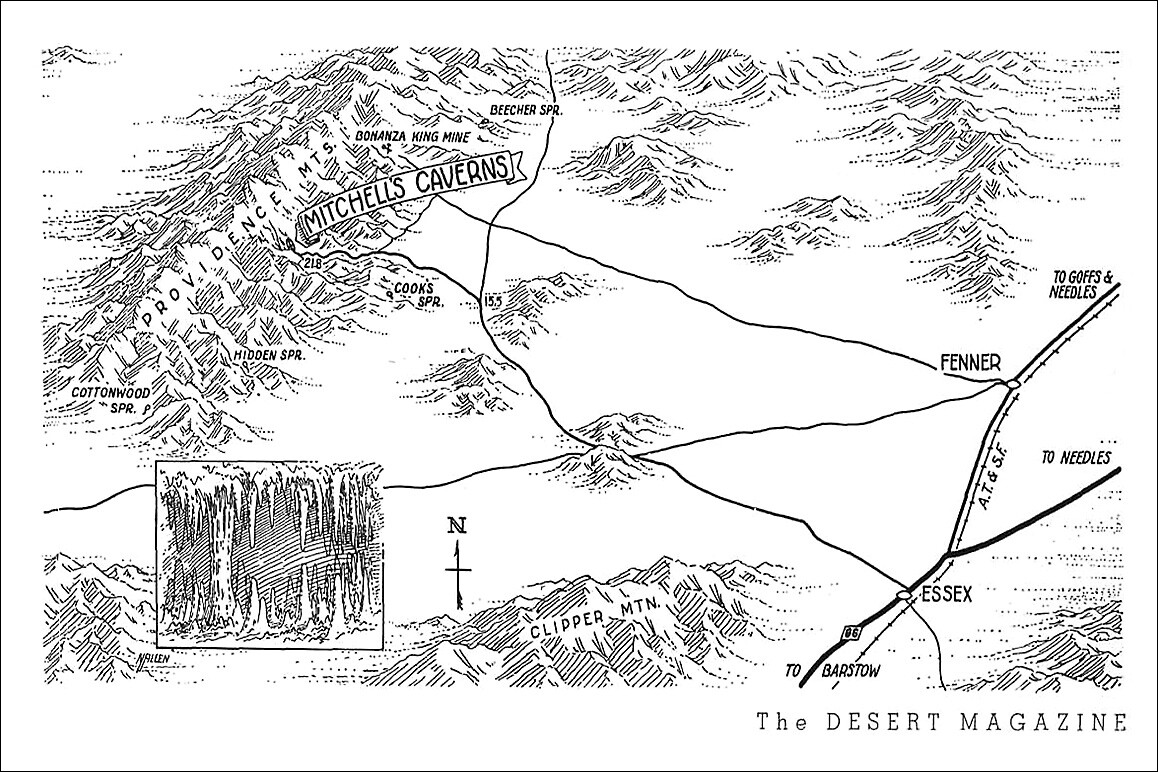 Above: A February 1942 Desert Magazine map showing Mitchell Caverns proximity to Fenner and Essex on historic Route 66—now part of the Mojave Trails National Monument.