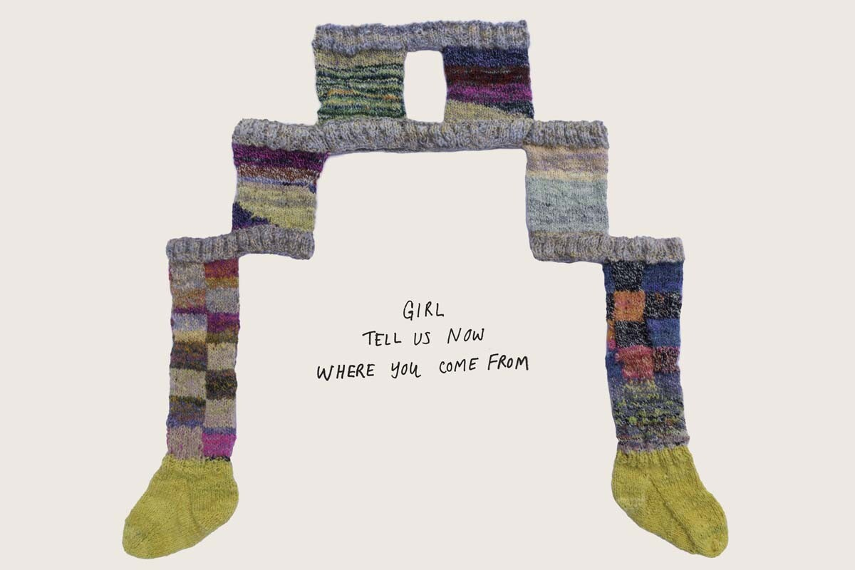 """Connie Fu, """"Possible outcomes (asking for her softness),"""" 2020. Hand-dyed, carded, spun, and knit 100% sheep's wool, with added text, 40"""" x 48."""" 