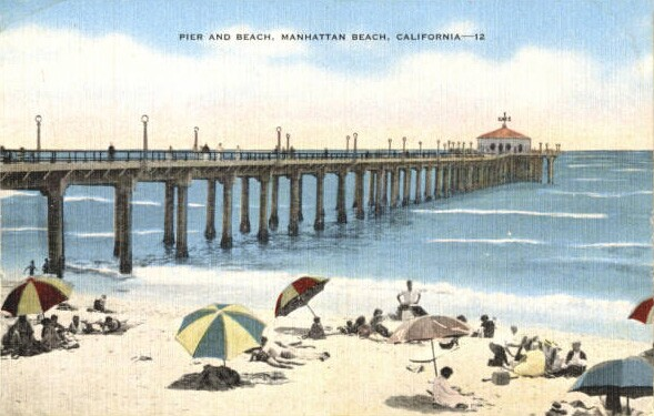 Postcard depicting the Manhattan Beach Pier, 1941. From the James H. Osborne Photograph Collection