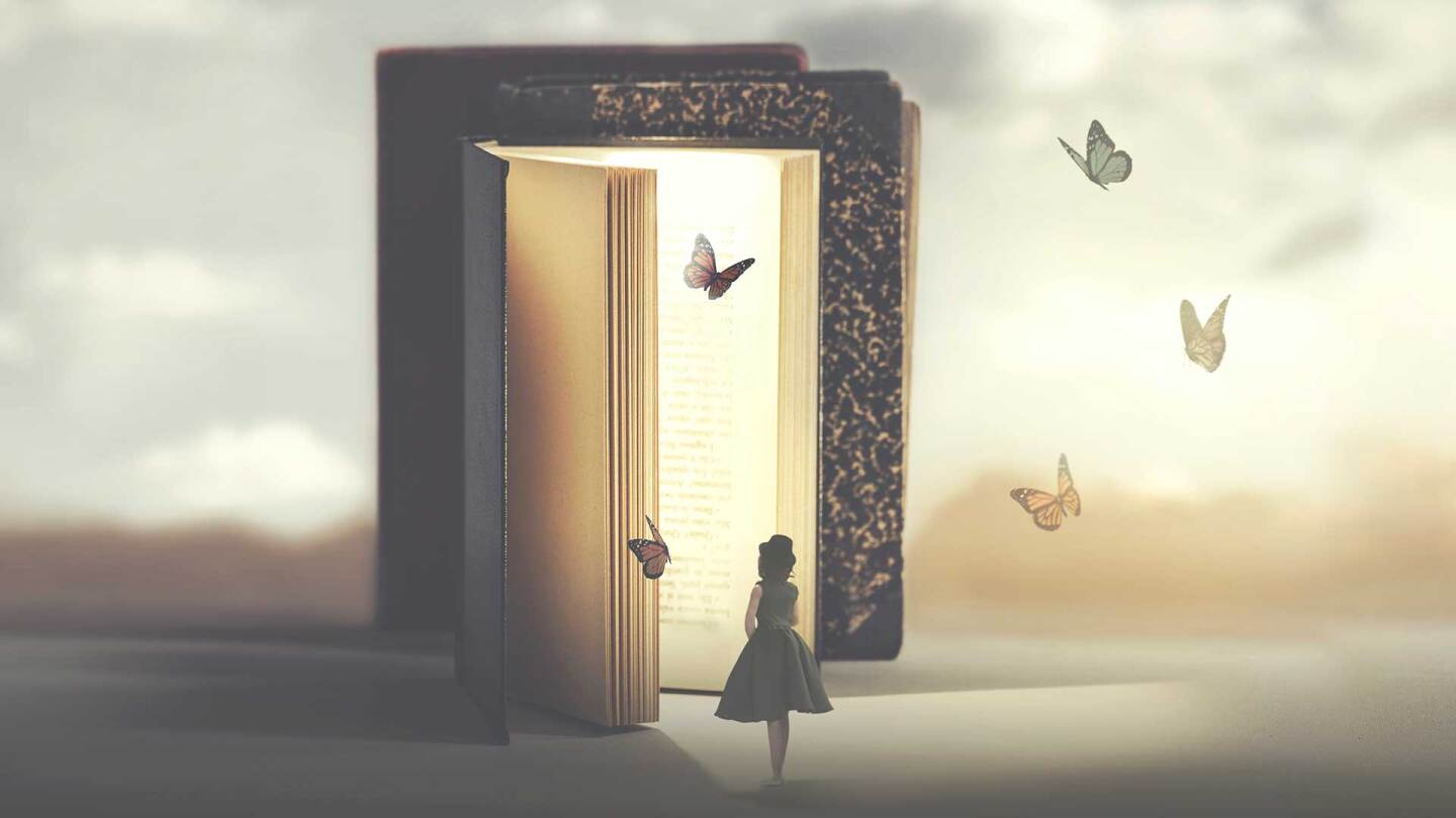 An encounter between a girl and butterflies flying out of a giant book.