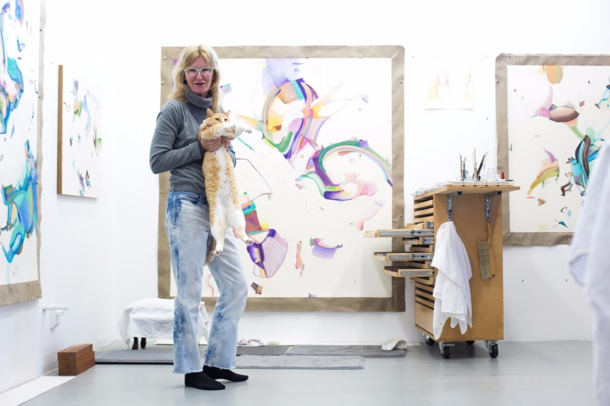 Sharon Ryan lives in her live/work space with her cat Giblet. | Magali Gauthier Santa Fe Art Colony