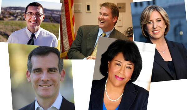 The five top tier candidates running for L.A. Mayor (from left:) Emanuel Pleitez, Eric Garcetti, Kevin James, Jan Perry, and Wendy Greuel.