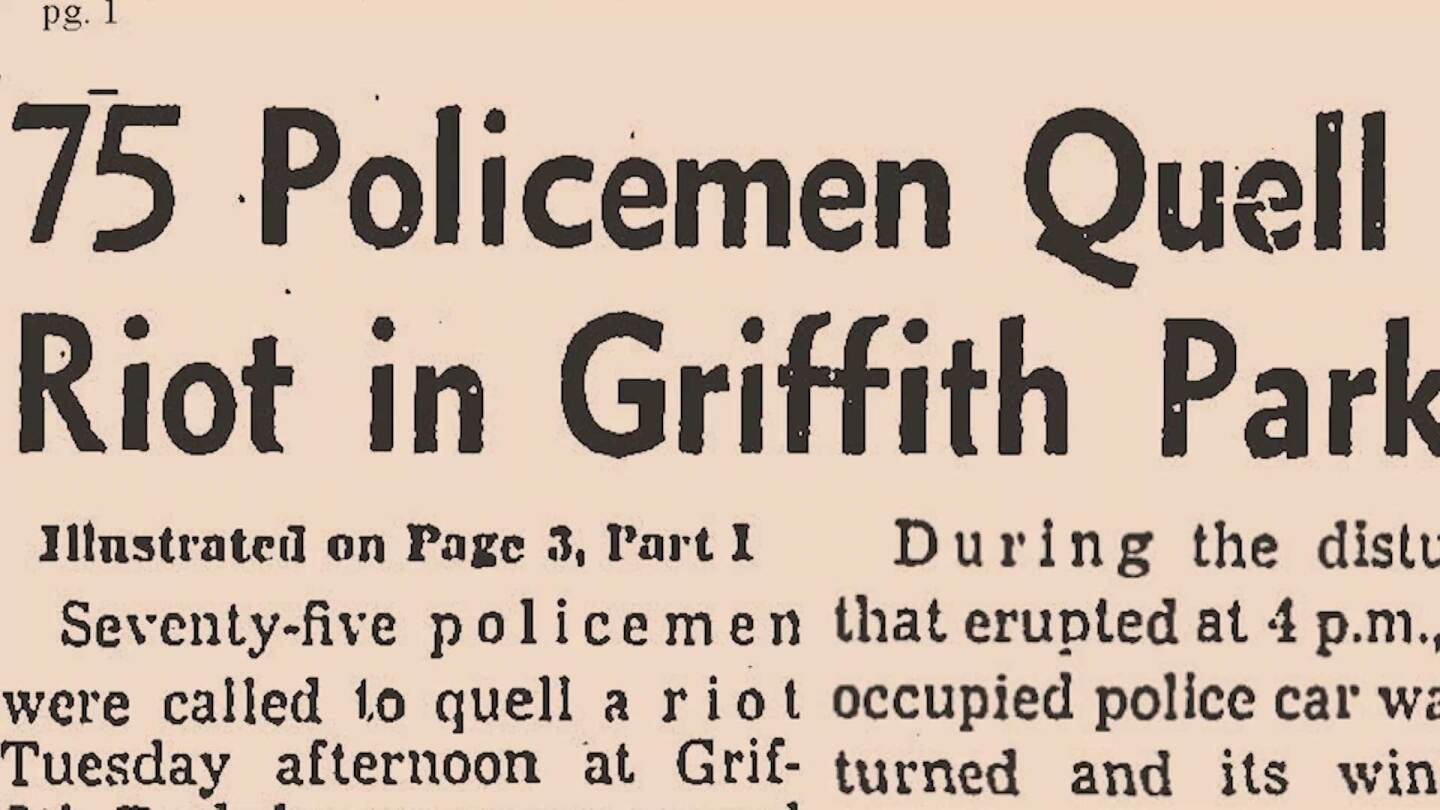 "Newspaper headlines of the Merry Go Round Riots in Griffith Park | Image from ""Lost LA"" Griffith Park: The Untold History"
