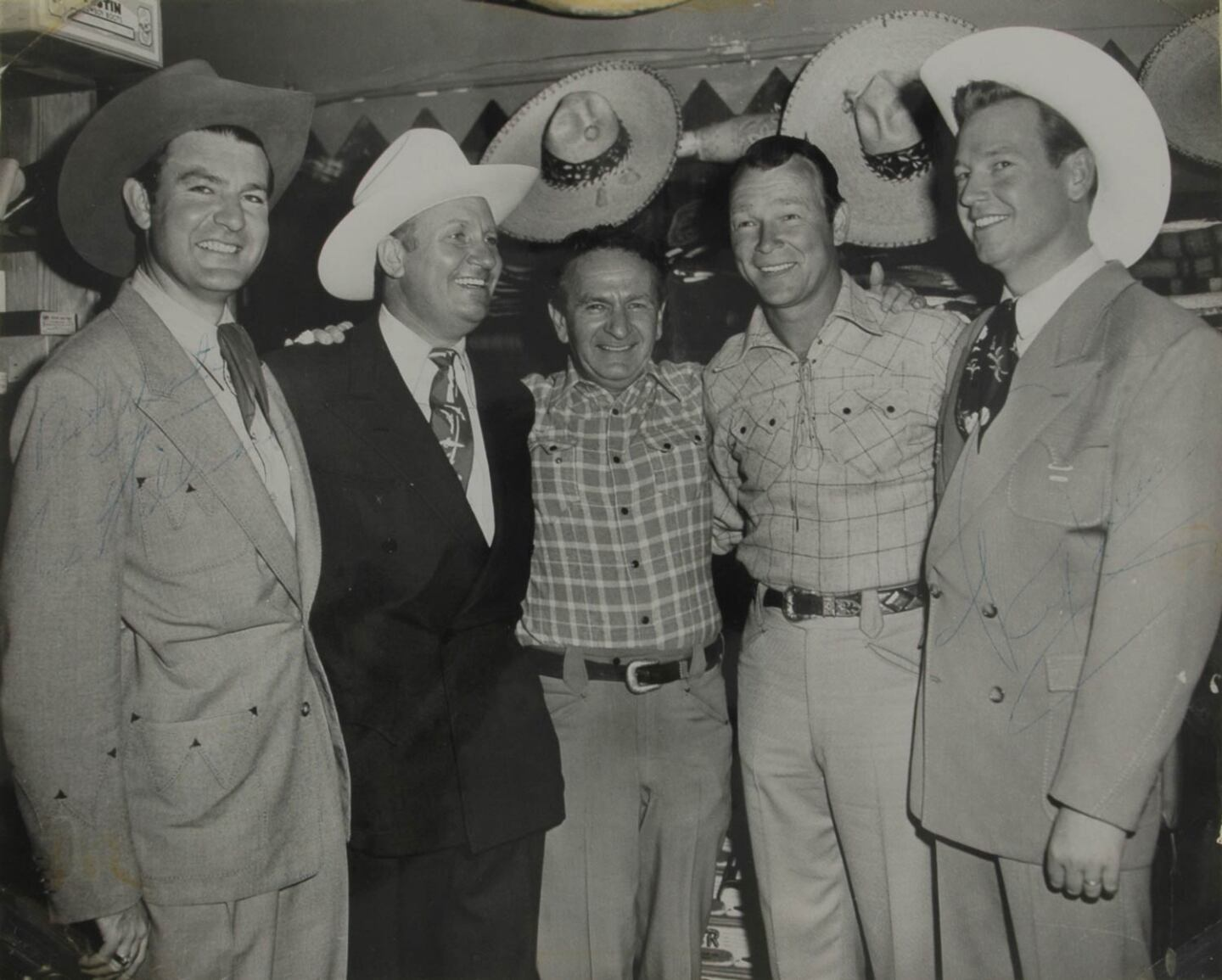 Nudie with his celebrity customers (L-R) Tex Williams, Gene Autry, Roy Rogers and Rex Allen | Courtesy of Autry Museum of the American West