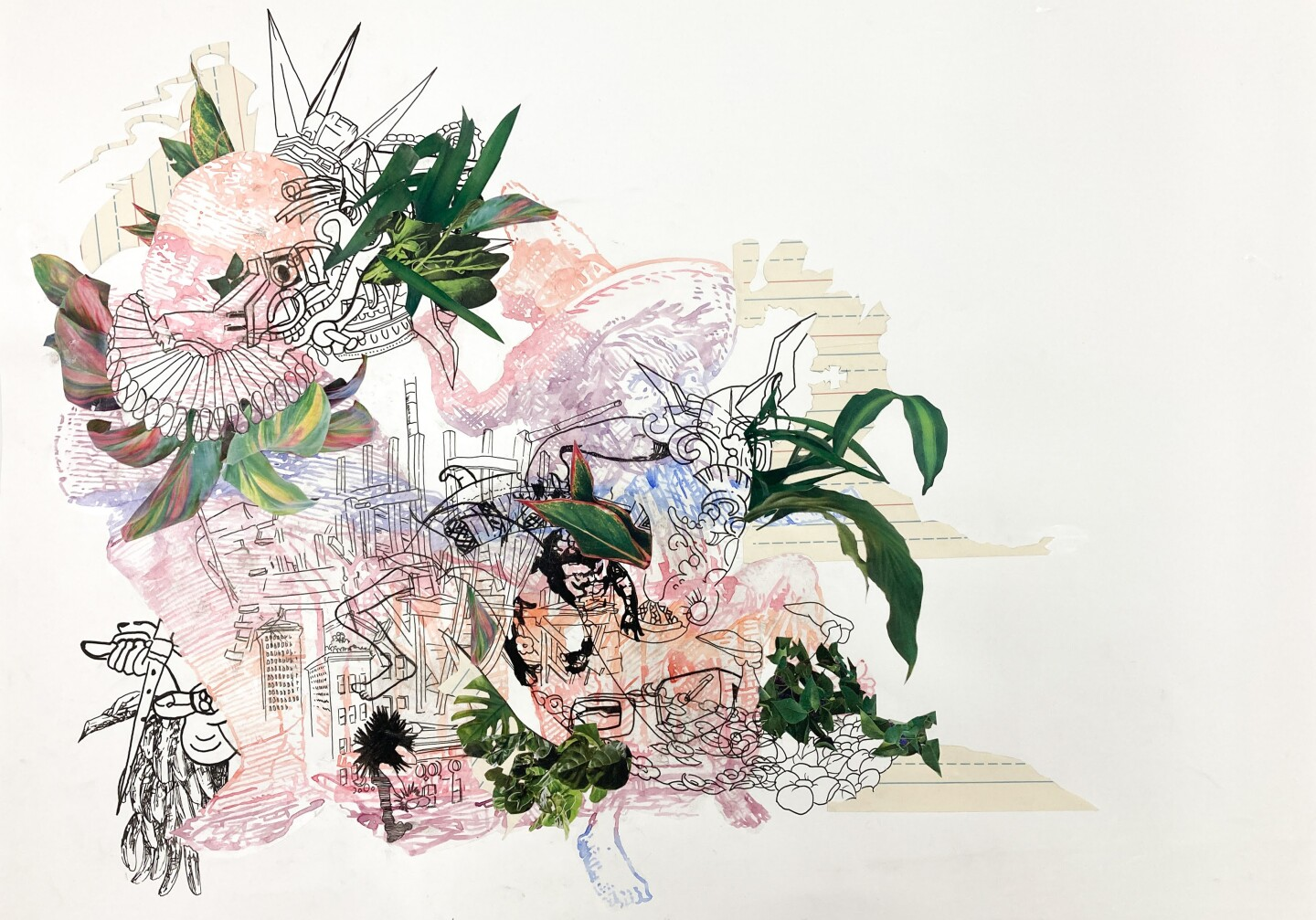 """David Rios Ferreira's """"We would all be together in a sudden strangeness"""" is watercolor, ink and collage on paper."""