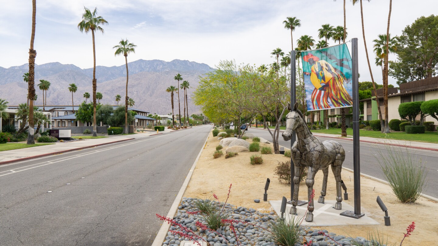 "Christopher Myers' ""The Art of Taming Horses"" is installed at Tahquitz Canyon Way in Palm Springs for Desert X 2021."