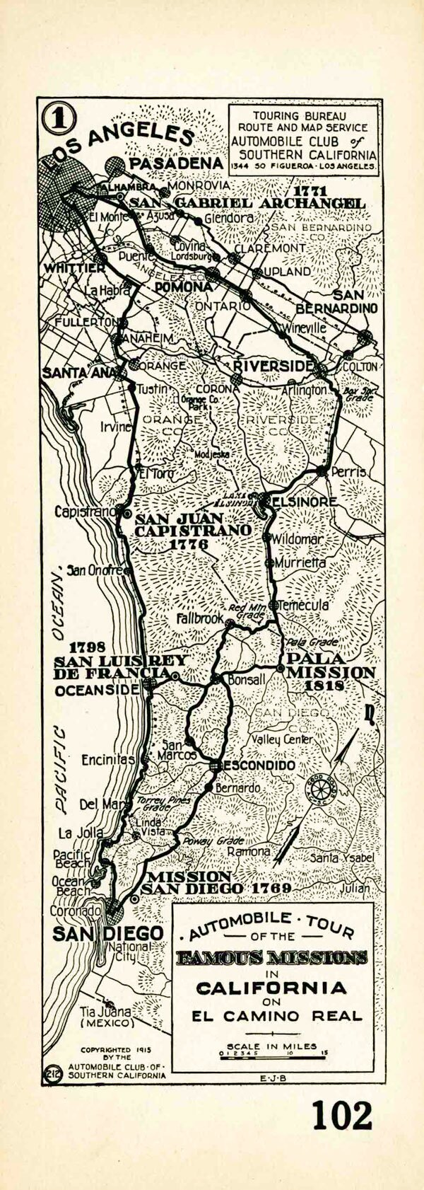 1915 Auto Club strip map showing the route of El Camino Real from the Los Angeles to San Diego. Courtesy of the Automobile Club of Southern California Archives.