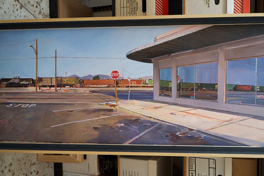Chidlaw's painting of the building in Mojave, California that both Osceola Refetoff and she photographed, with very different results in lighting and window reflections. | Photo: Osceola Refetoff