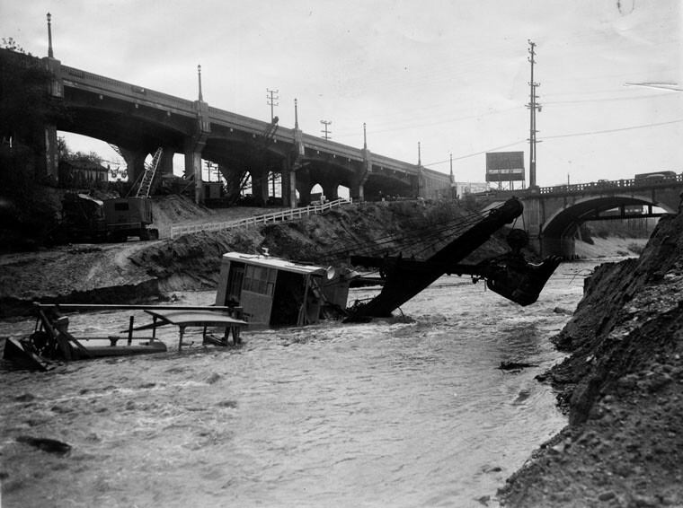 Damaged construction equipment in the Los Angeles River after the 1939 tropical storm