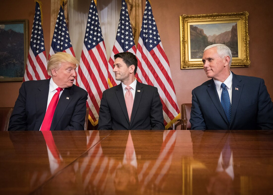 Paul Ryan meets with Donald Trump and Mike Pence on Capitol Hill after their election