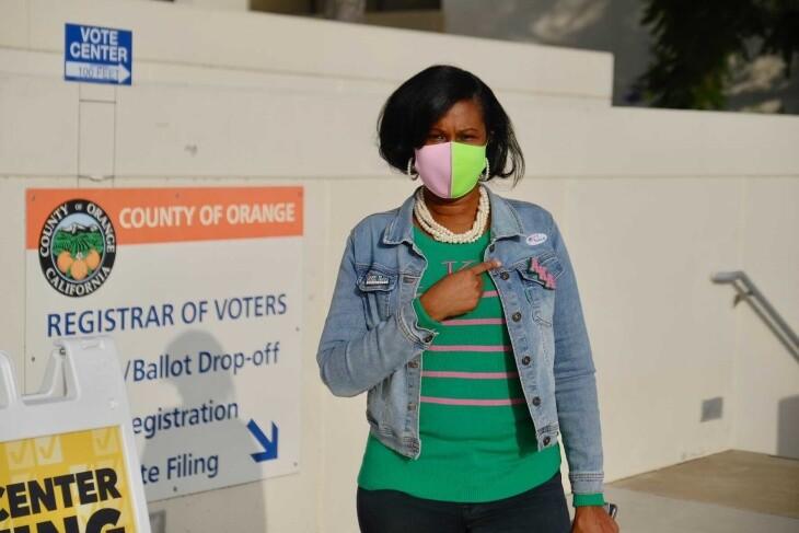 Darice Goodwin from Santa Ana casts her ballot at the Orange County Registrar on Nov. 3, 2020. | Chava Sanchez/LAist