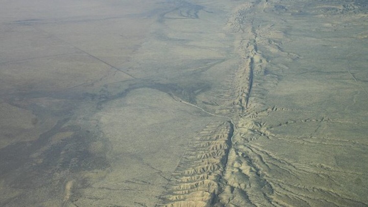 The San Andreas Fault in Central California's Carrizo Plain.